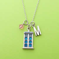 Personalized, Letter, Initial, Police box, Custom, Birthstone, Silver, Necklace, Doctor who, Police, Box, Gift, Jewelry