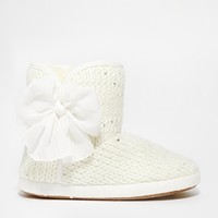 New Look Nancie Chiffon Bow Slipper Boots