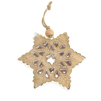 Snowflake Wooden Christmas Ornament, Natural/White, 4-Inch