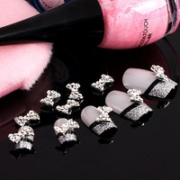 Leegoal 10pcs Special Charming 3D Nail Art Designs Nail Art Bow Tie Alloy Rhinestones DIY Decoration