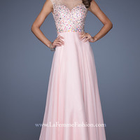 La Femme Beaded Backless Evening Gown