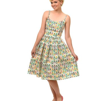 1950s Style White Russian Nesting Dolls Swing Dress