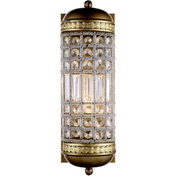 "Olivia 5"" W Wall Sconce, French Gold Finish, Clear Crystal, Royal Cut"