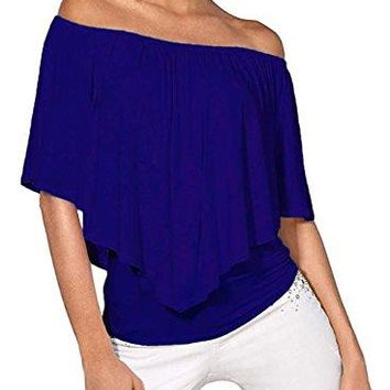 DREAGAL Womens Off Shoulder Ruffles Solid Casual Blouse Stretch Tops