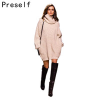 Preself Autumn Winter Women Pullover Oversized Jumper Thickening Female Fall Turtleneck warm Knitwear Knitted Sweater