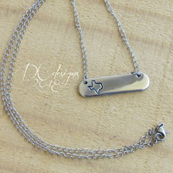 Texas, Engraved Necklace, States, Personalized Bar Necklace, Name Necklace, Silver Bar Necklace, Custom Necklace, Texas Necklace