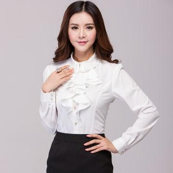 2017 Summer and autumn Plus size Women's White Polo Shirts Long Sleeve Fashion sweet S
