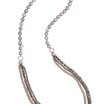 Rose Gold, Silver, Brown Long 3 strand necklace