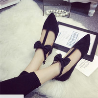 Sweet Bow Women Shoes Pointed Toe Flock Women Flat With Casual Shoes Loafers