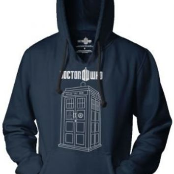 Dr. Doctor Who Police Box Booth Linear Tardis Adult Navy Hooded Sweatshirt - Doctor Who - | TV Store Online