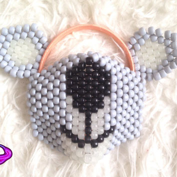 Koala Mask and Ears Kandi Set Koala Kandi Mask Kandi Koala Ears Kandi Ears EDM Rave Gear Neon Rave Wear Koala Accessories EDC