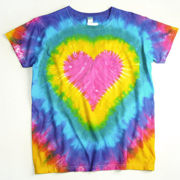 Ladies Tie Dye Shirt Pink Heart Rainbow Design by SunflowerTieDyes