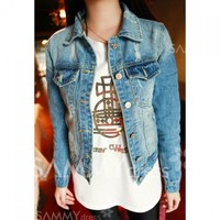 Fashionable Style Broken Hole Turn-Down Collar Long Sleeves Single-Buttons Denim Jacket For Women