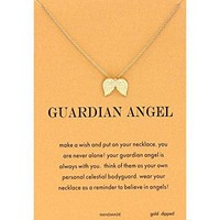 AUGUAU CYBERNY Friendship Angel Wing Charm Necklace Good Luck Elephant Necklace with Wish Card for Women