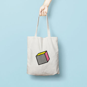 Geometric Tote Bag Cube - Canvas Tote Bag - Printed Tote Bag - Market Bag - Cotton Tote Bag - Large Canvas Tote - Funny Cube Tote Bag