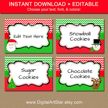 Christmas Chevron EDITABLE Printable Buffet Cards, Labels, Tent cards, DIY Candy Buffet Labels - Red Green Santa Snowman Reindeer - INSTANT