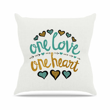 "Pom Graphic Design ""One Love One Heart"" Gold Teal Typography Illustration Outdoor Throw Pillow"