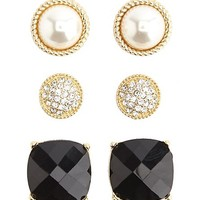Rhinestone, Pearl & Gem Earrings - 3 Pack
