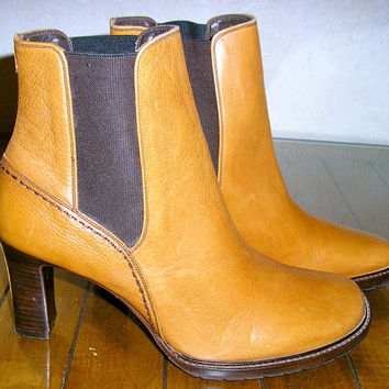 80s NOS Joan and David tan ankle boots 9.5B never worn MINT