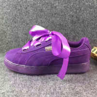 Puma  Rihanna Silk Bowknot Fashion Sport Casual Shoes Sneakers purple