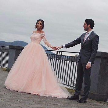 Saudi Arabia Stylish Blush Pink Wedding Dress Off the Shoulder Long Sleeve Lace Elegant Mariage Bride Dresses Vestido de Noiva