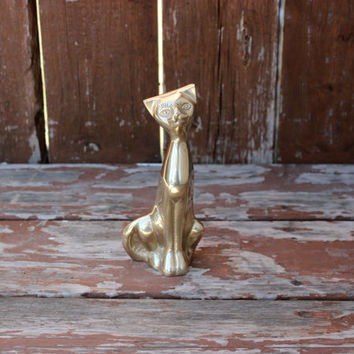 "Vintage Brass Cat Figurine Sculpture - 6 1/2"" Tall Statue - Paper Weight"