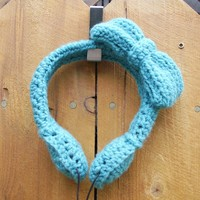 Teal Crocheted Headphones