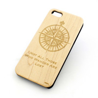 Genuine Wood Cover - Not All Those Who Wander Are Lost / Compass
