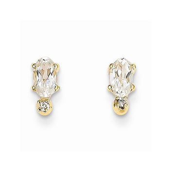 14k Yellow Gold White Topaz Birthstone Earrings