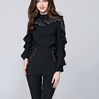 Womens blouse Beaded Tops Long Sleeve Casual shirt Patchwork Clothing