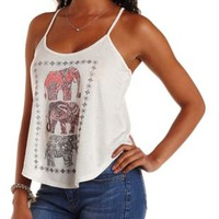 Oatmeal Rhinestone Elephant Graphic Tank Top by Charlotte Russe