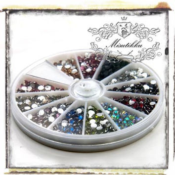 1 Box of 1200 PCS X 3mm Round Rhinestone Bling Resin Gems Cabochon Flat Back -Deco Miniature / Scrap booking / Nail Art / Supplies (R3M.RBL)
