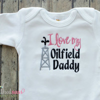 Oilfield Daddy Bodysuit  - Baby Girls Embroidered Clothing - Boutique - Pipeline Worker - Dad - Pink and Black Girls Tee - Oil Field