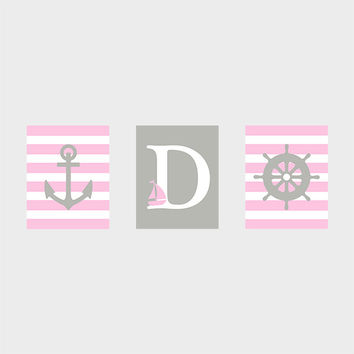 Monogram First Initial, Pink Gray Nautical Print, CUSTOMIZE YOUR COLORS, 8x10 Prints, set of 3, nursery decor nursery print art baby decor