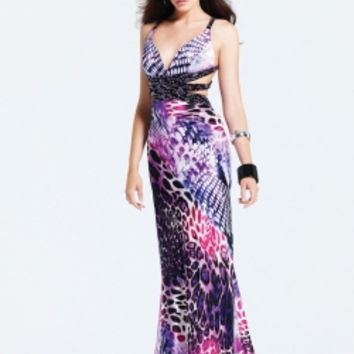 Faviana Dresses - Purple & Black Animal Print Beaded Satin Open Back Prom Dress