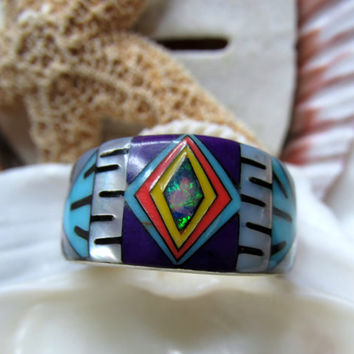 Sterling Silver Ring Turquoise Opal MOP Coral Lapis Inlay Double Sided