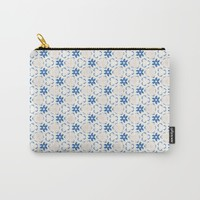 Acrylic Blue Floral Triangles Carry-All Pouch by Doucette Designs