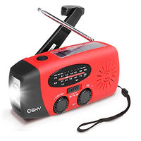 Esky Solar Hand Crank Self Powered Emergency Radio with LED Flashlight and 1000mAh Power Bank
