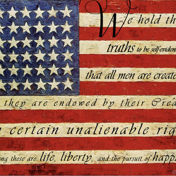 Patriotic Art Print - american flag red white and blue 8x12 declaration of independence 5x7 fourth of july art quote print 11x14 typography