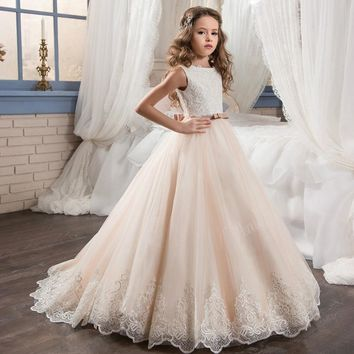 princess lace first communion dresses for girls 10 12 puffy ball gown pageant dress for girls long champagne flower girl dresses