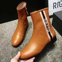 GUCCI Fashion Women Leather Zipper Short Tube Boots Shoes Brown