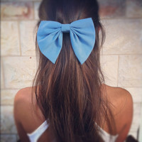 BIG Blue bow unique hair bow - little mermaid blue hair bow