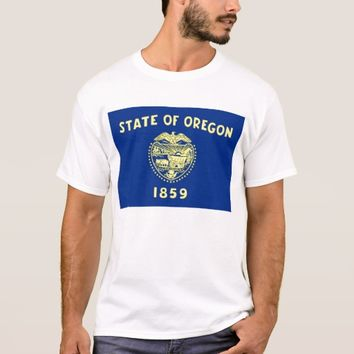 T Shirt with Flag of Oregon State USA