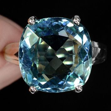 14K White Gold 9.2CT Cushion Cut Blue Aquamarine & White Sapphire Ring