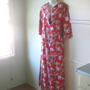 Upscale, Asian Inspired Red Caftan - 1980s Vintage David Brown Floral Print Kimono Gown - Long Red Bohemian Robe; Medium-Large