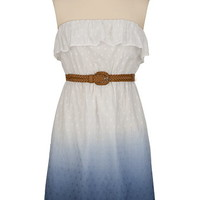 Ombre Belted Ruffle Tube Dress