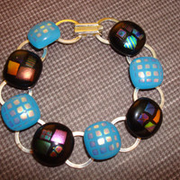 Turquoise - Dichroic Bracelet - Fused Glass - Art - Bracelet - Jewelry - Silver - Link - Spring 2014 - Bling - Sparkle - Made in Canada