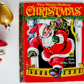 Vintage Little Golden Book The Night Before Christmas 1978 Reissue Corinne Malvern Illustrations Holiday Decor