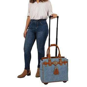 """THE RODEO"" Blue & Brown Rolling  iPad, Tablet or Laptop Tote Carryall Bag"