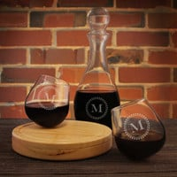 Askant Personalized Rocking Glasses Engraved with Choice of Monogram Design Options & Font Selection (Each or as a Set of Two with Decanter)